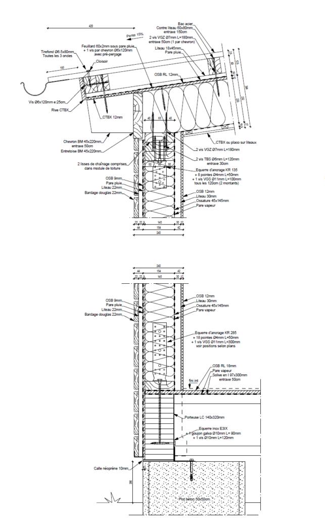 Exemple de détail de liaison ossature bois/plancher et toiture - bureau d'études bois