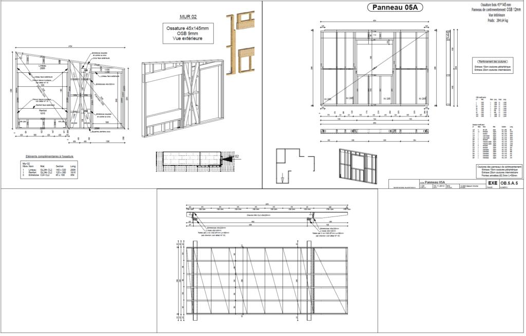 PAC : Exemple de plan de fabrication de parois et modules - bureau d'études bois