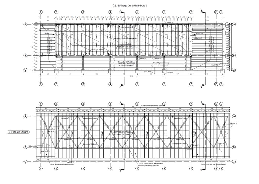Exemple de vues en plan : Solivage dalle bois et plan de toiture. bureau d'études bois