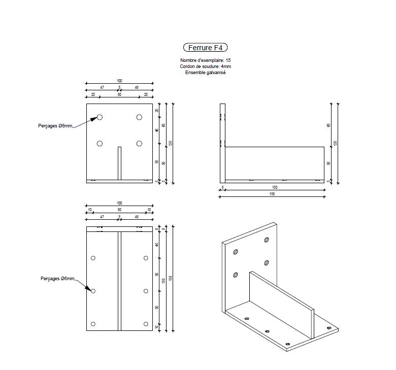 PAC : exemple de plan de ferrure - bureau d'études bois