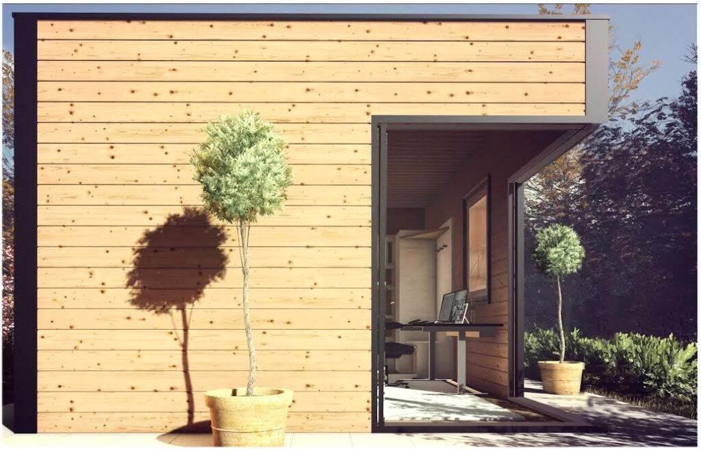 studio de jardin en bois - design contemporain, bureau en télétravail